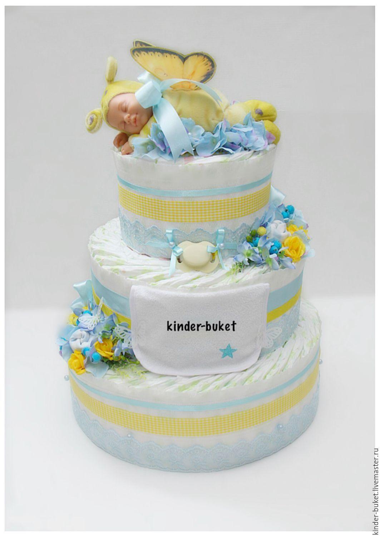 Как сделать торт из памперсов для мальчика фото