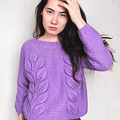 Одежда handmade. Livemaster - original item Knitted jumper, violet sweater from Merino eco wool. Handmade.