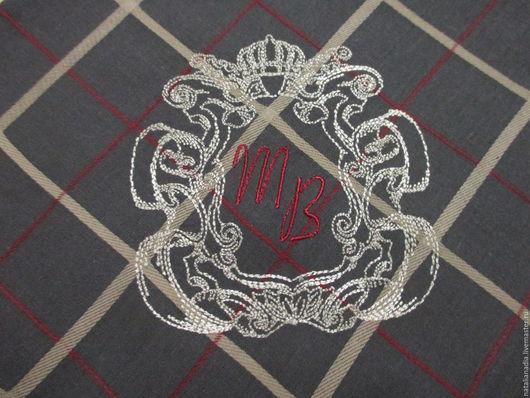 Носовые платочки ручной работы. Ярмарка Мастеров - ручная работа. Купить Носовой платок мужской с вышивкой (вензель4). Handmade. Комбинированный