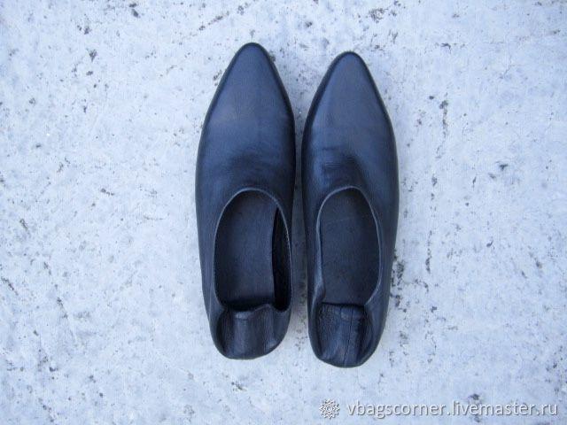 Обувь ручной работы. Ярмарка Мастеров - ручная работа. Купить Черные кожаные мюли. Handmade. Черный, тренд 2018