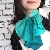 """Аксессуары ручной работы. Ярмарка Мастеров - ручная работа Жабо воротник, женский галстук батик """"Капель"""". Handmade."""