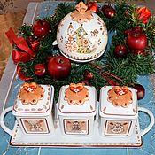 Винтаж handmade. Livemaster - original item Villeroy&Boch.  Jars on a tray and Apple baking set.. Handmade.