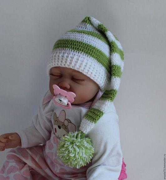 """Для новорожденных, ручной работы. Ярмарка Мастеров - ручная работа. Купить Шапочка """" Гномик"""". Handmade. Салатовый, вязание для детей"""