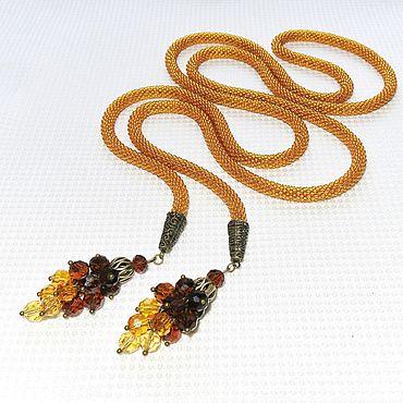 Decorations handmade. Livemaster - original item Necklace - Lariat beaded Maple syrup. Handmade.