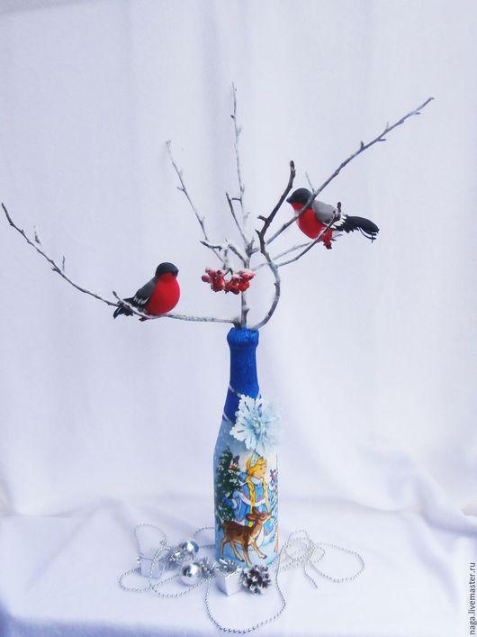 Новый год 2017 ручной работы. Ярмарка Мастеров - ручная работа. Купить Заснеженная ветка со снегирями и рябиной. Handmade. игрушка