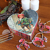 Подарки к праздникам handmade. Livemaster - original item Christmas box in the shape of heart and horses christmas ornaments. Handmade.