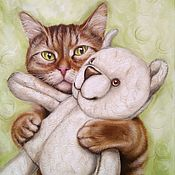 Картины и панно handmade. Livemaster - original item Oil painting with a cat and a bear Favorite toy 2.0. Handmade.