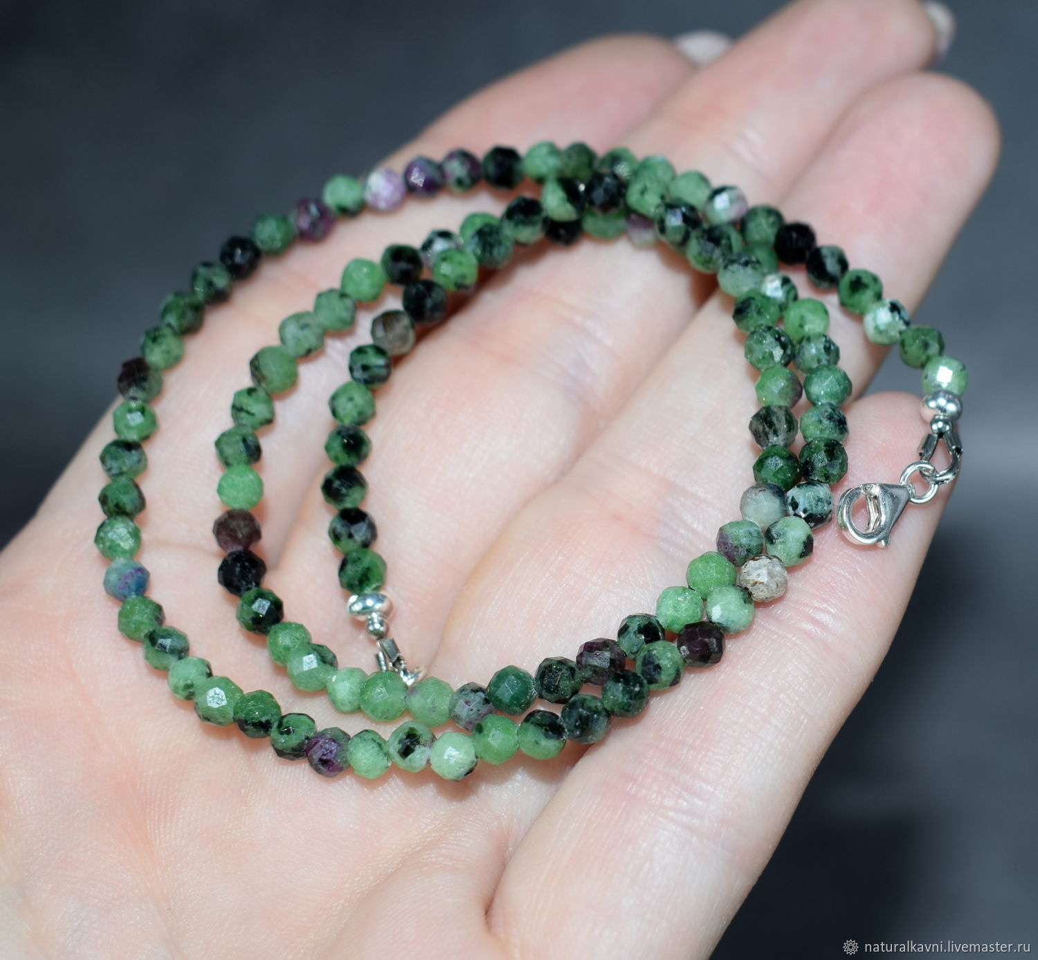 Silver 925pr.Natural ruby cut beads in zoisite, Beads2, Moscow,  Фото №1