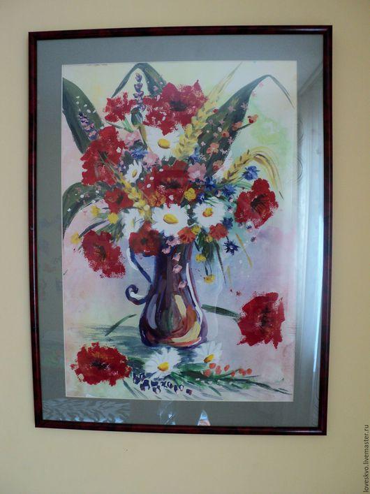 """Картины цветов ручной работы. Ярмарка Мастеров - ручная работа. Купить Картина """"Ваза с маками"""" формат А2 в раме. Handmade."""