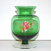 Винтаж handmade. Livemaster - original item VASE vase, the Soviet Union green glass 11,5 cm. Handmade.