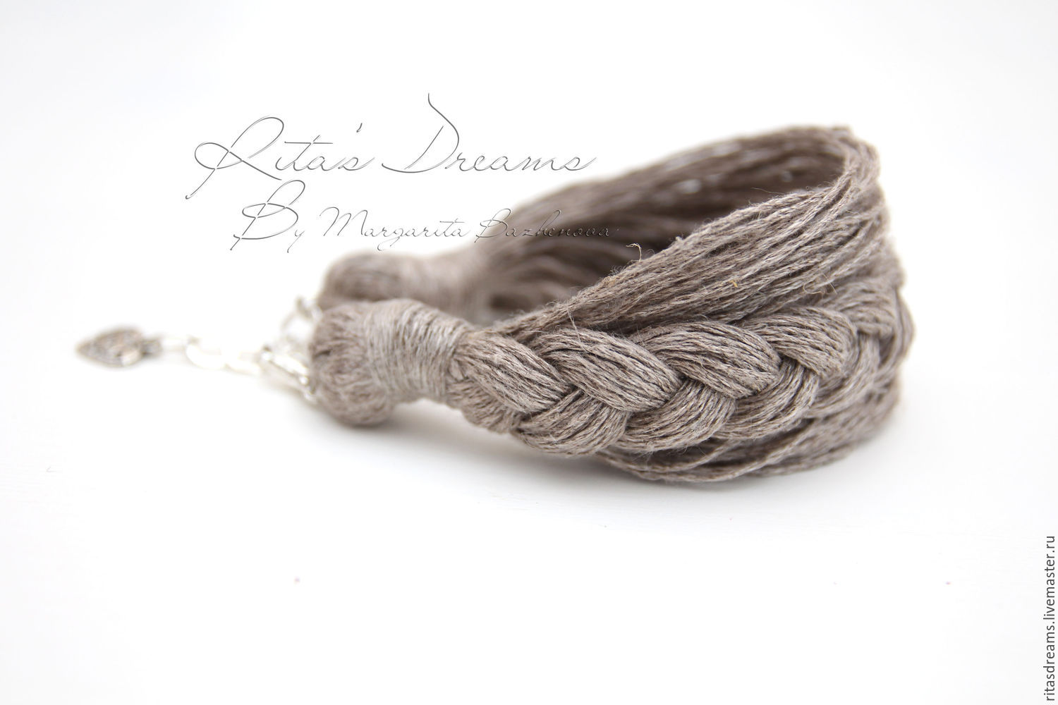 Bracelet made of natural linen undyed natural grey color is sleek accessory for lovers of natural style.