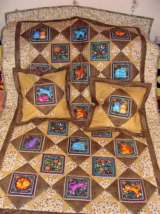 Текстиль, ковры ручной работы. Ярмарка Мастеров - ручная работа. Купить Комплект одеяло и две подушки в лоскутной технике. Handmade.