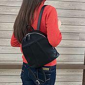 Сумки и аксессуары handmade. Livemaster - original item Backpack small black genuine leather. Handmade.