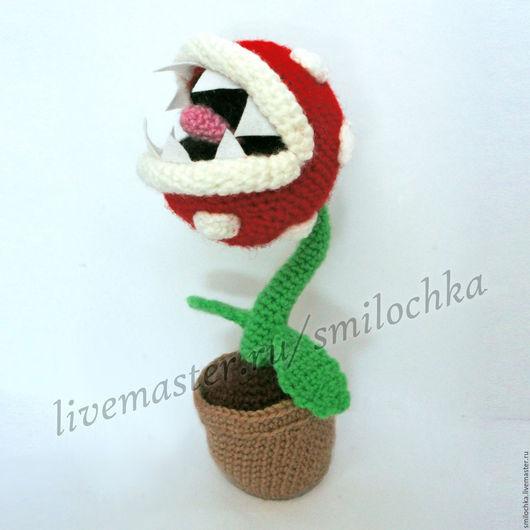 """Сказочные персонажи ручной работы. Ярмарка Мастеров - ручная работа. Купить Хищный цветок """"Пиранья"""" из Марио. Handmade. Ярко-красный"""