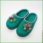 """Обувь ручной работы. Ярмарка Мастеров - ручная работа Тапочки """" Розовые бутоны"""". Handmade."""
