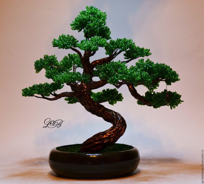 Купить Бисерное дерево. Интерьерный бонсай. Авторская работа. - тёмно-зелёный, бонсай из бисера, бонсай