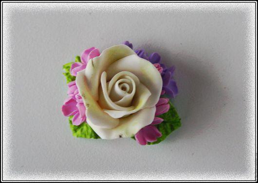 """Цветы ручной работы. Ярмарка Мастеров - ручная работа. Купить Брошь из полимерной глины """"Роза"""". Handmade. Белый, роза"""