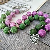 Украшения handmade. Livemaster - original item The Textile beads Long Chain Green Pink Boho Beads Silver. Handmade.