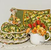"""Для дома и интерьера ручной работы. Ярмарка Мастеров - ручная работа """"Груши"""". Две  наволочки + Грелка на чайник. Handmade."""