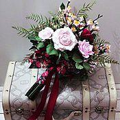 Свадебный салон ручной работы. Ярмарка Мастеров - ручная работа Букет с розами  и  цветущими ветками сакуры.. Handmade.