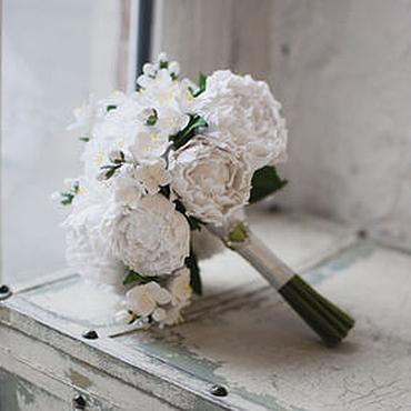 Свадебный салон ручной работы. Ярмарка Мастеров - ручная работа Белоснежный букет невесты из пионов и жасмина. Handmade.