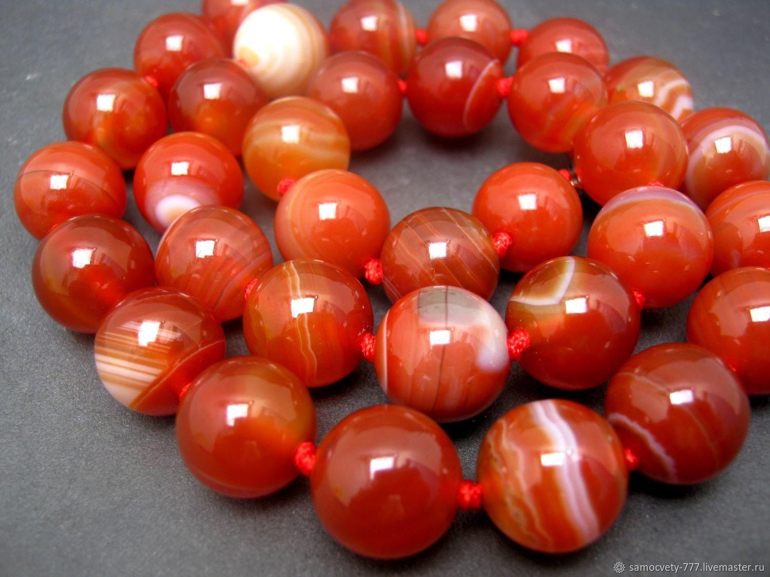 Beautiful beads of natural stone'Crimean carnelian', Necklace, Feodosia,  Фото №1