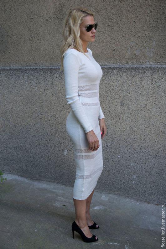 Платья ручной работы. Ярмарка Мастеров - ручная работа. Купить Белое стильное платье/Модное платье/F1618. Handmade. Белый, комфотное платье