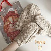 Аксессуары handmade. Livemaster - original item Hat and mittens out of Alpaca, a set of
