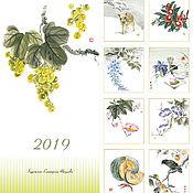 Календари ручной работы. Ярмарка Мастеров - ручная работа Календари:суми-э 2019 возможен заказ 2020,настенный Япония цветы птицы. Handmade.