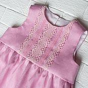 Платья ручной работы. Ярмарка Мастеров - ручная работа Платье из 100% льна розовое. Handmade.