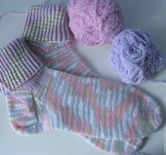 Носочки с отворотом `Розово-голубая мечта`