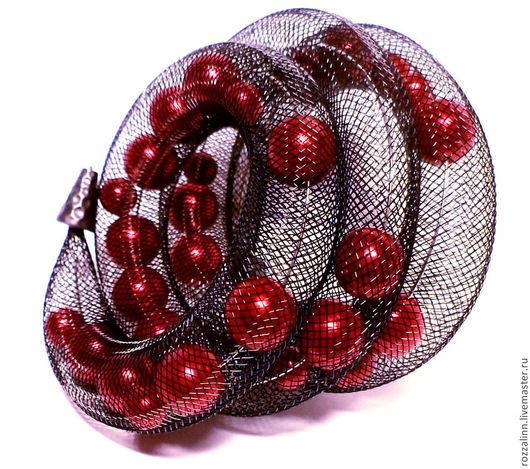 Браслеты ручной работы. Ярмарка Мастеров - ручная работа. Купить Браслет из сетки из красных жемчужин. Handmade. Ярко-красный, сетка