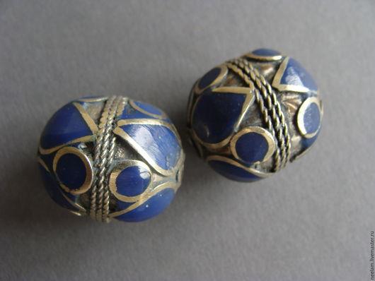 """Для украшений ручной работы. Ярмарка Мастеров - ручная работа. Купить Бусины ручной работы """"синие цветы"""". Handmade."""
