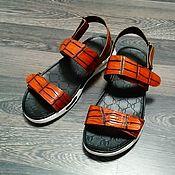 Обувь ручной работы handmade. Livemaster - original item Sandals made of genuine crocodile leather, with Velcro.. Handmade.