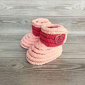 Работы для детей, handmade. Livemaster - original item Booties: plush boots for girls, 11 cm on the foot. Handmade.