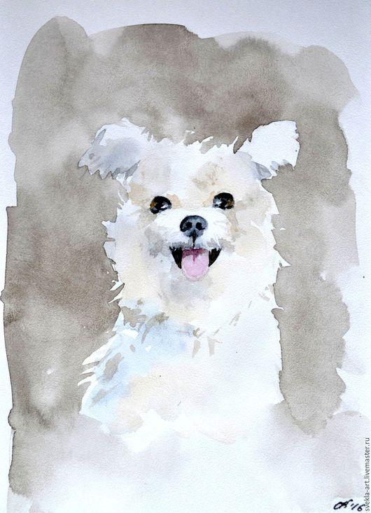 """Животные ручной работы. Ярмарка Мастеров - ручная работа. Купить Картина акварелью """"Задорный пёсик"""". Handmade. Коричневый, собака, дружок"""