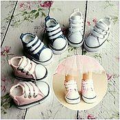 Кеды для кукол и мишек на шнуровке (5см) белый/розовый/джинс/сирень