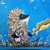 Аксессуары ручной работы. Ярмарка Мастеров - ручная работа Зонт с росписью - Ежик с листиком. Handmade.