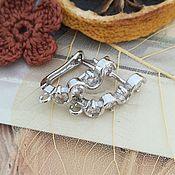 Материалы для творчества handmade. Livemaster - original item Earrings with zircons with lock 18 mm platinum (Ref. 3068). Handmade.