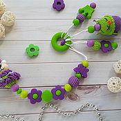 Мягкие игрушки ручной работы. Ярмарка Мастеров - ручная работа Держатель из пищевого силикона с игрушкой Совенок. Handmade.