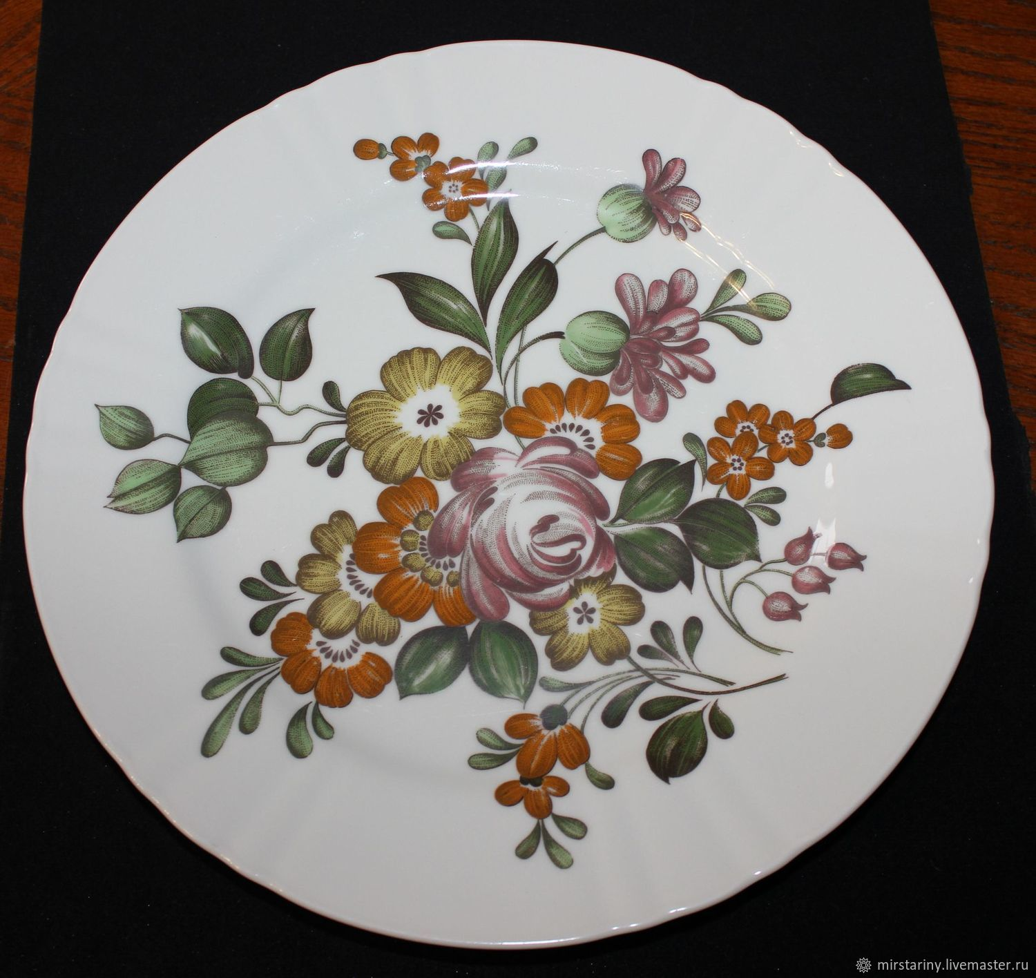 Large, table plates with flowers, Hutschenreuther, Herm, Vintage plates, Moscow,  Фото №1