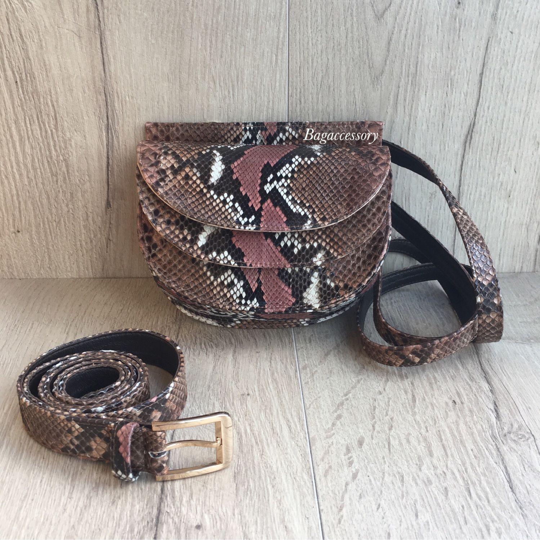 Belt bag made of genuine Python leather, Waist Bag, Moscow,  Фото №1
