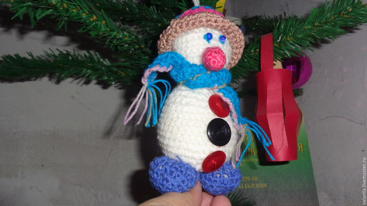 Детская ручной работы. Ярмарка Мастеров - ручная работа. Купить Снеговик амигуруми. Handmade. Ярко-красный, амигуруми крючком