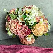 Композиции ручной работы. Ярмарка Мастеров - ручная работа Интерьерная композиция «Осень»,букет с розами,в персиковых оттенках. Handmade.