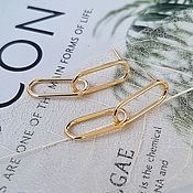 Материалы для творчества handmade. Livemaster - original item Earrings studs 31h8 mm gold plated (4408). Handmade.