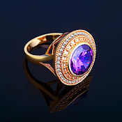 Украшения handmade. Livemaster - original item Gold ring with diamonds and AMETHYST. Handmade.