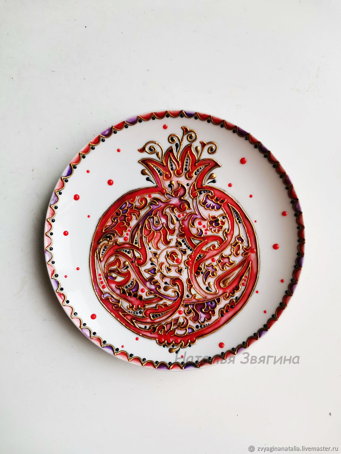 Plate decorative Pomegranate. Hand painted. Gift, Decorative plates, Ekaterinburg,  Фото №1