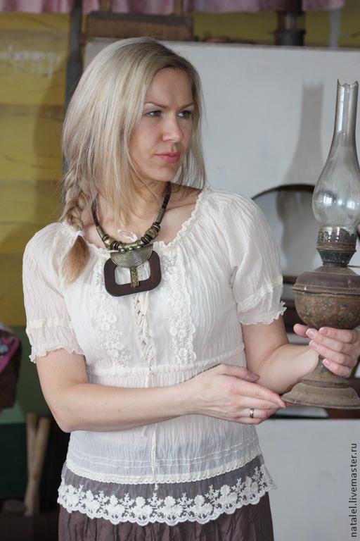 """Блузки ручной работы. Ярмарка Мастеров - ручная работа. Купить Блузка """"Provence"""" крем-брюле бохо кантри прованс. Handmade."""