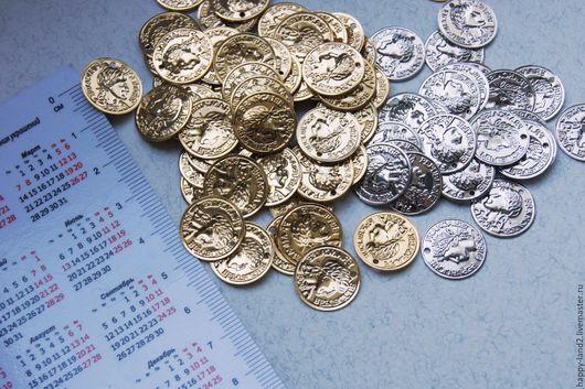 Для украшений ручной работы. Ярмарка Мастеров - ручная работа. Купить Монета декоративная, 12 мм, односторонняя, Южная Корея. Handmade.