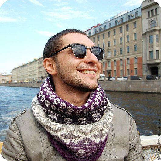 """Тёплый жаккардовый шарф - снуд  для """" черепомана"""". Авторская ручная работа от Галины Пилипенко."""